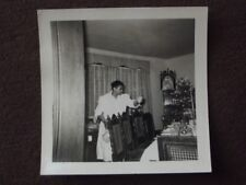 AFRICAN AMERICAN MAID SETTING THE CHRISTMAS TABLE Vintage 1940's PHOTO