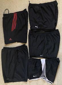 024 Mens Nike Adidas Puma Running Training Gym Sport Shorts Black Bundle Size L