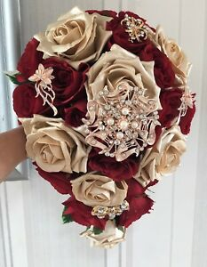 Brides Wedding Bouquet   Deep Red and Gold roses with brooches