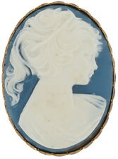 Vintage Wedgewood Blue Color Cream Cameo Pin Brooch