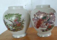 "2 collectibles medium ceramic bird ginger jar and vintage flowers Japan 6 ""tall"