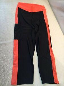 Laguest Womens Fitness / Sport Capri Black / Orange Pants Size Small / Medium