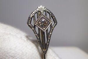 Gold Tie PIN Filigree Vintage 10k White Gold 1 Diamond Antique Vintage Exquisite