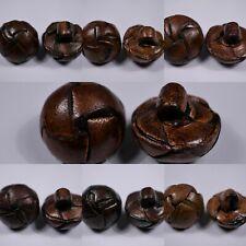 4x genuine leather tan brown shank buttons light medium dark 17mm 18mm 26mm