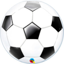 "SOCCER BALL BUBBLE BALLOON 22"" FOOTBALL SEE THRU BUBBLE LARGE QUALATEX BALLOON"