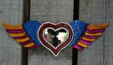 Fun Multi-Color Tin Milagro Wall Mirror Winged Heart Love Token Mexican Folk Art