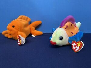 2 Ty Beanie Babies Fish - 1993 Goldie, PVC and 1999 Lips PE