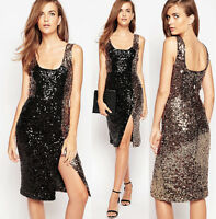 $248 French Connection Cosmic Sparkle Sleeveless Gold Black Sequin Dress 12