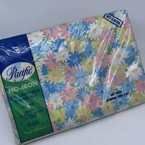 Vintage Flat Twin Sheet Floral Mod Pink Blue New Dead Stock Mod 70's Multico