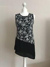 Ladies Black & White Floral Top by TU Size 8