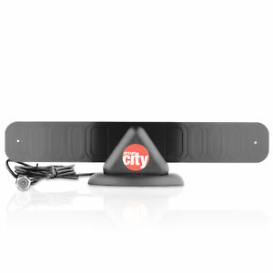 Circuit City 25 Mile Mini Flat Digital Indoor HD TV Antenna with Stand (Black)