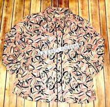 Covington Womens XL Stretch Pink black Print Button down Shirt Top Blouse 3/4 S.