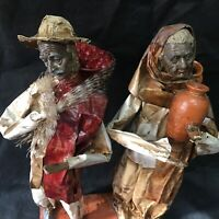 2 Paper Mache Village People Mexican Folk Art Figurine Sculpture Ethnic Culture