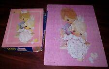 PRECIOUS MOMENTS jigsaw puzzle Sam Butcher teardrop eye dolls 1990 kids on swing
