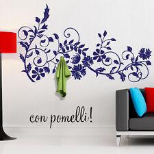 00407 Adesivi Murali Wall Stickers Appendiabiti Ramo fiorito con ganci 120x70 cm