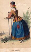 Gravure XIXe Jeune Fille Ségovie Espagne Costume Mujer Segovia España 1848