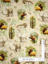 Wildlife Animals Nature Scenes Beige Cotton Fabric QT Mountain Elk By The Yard