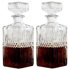 2 x LIQUOR WHISKEY DECANTER VINTAGE GLASS CRYSTAL BOTTLE WINE STOPPER BAR SCOTCH