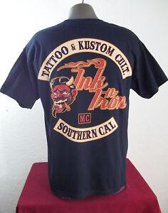 Ink n Iron Smokin Satan Tattoo & Kustom Cult MC Southern Cal Cotton T Shirt Sz L