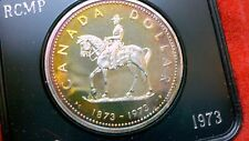 MASSIVE PINKS BLUES ELECTRIC IRIDESCENT SILVER RAINBOWS GEM 1973 RCMP CANADA $1