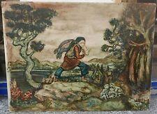 Beau Tableau Peinture Cire RODNEY WINFIELD 1950 Paysage Pêcheur Animaux