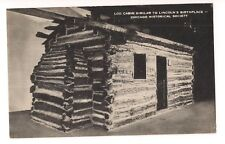 Log Cabin Similar to Lincoln'S Birthplace Chicago Illinois Postcard Il B&W