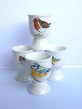 Garden birds egg cups eggcup porcelain set of 4 boxed