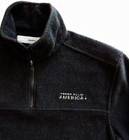 Perry Ellis America Men Black Fleece Half Zip Pullover Sweatshirt Jacket Size M