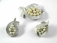 ART Signed Faux Pearl and Rhinestone Silvertone Earrings and Brooch vintage Jewe