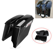 """Ridgeyard 4""""Painted Black Stretched Extended Hard Saddle bags For Harley Touring"""