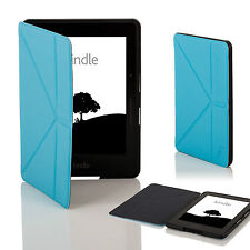Leather Blue Smart Origami Case Cover for Amazon Kindle Voyage + Stylus