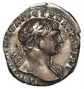 97AD - 117AD Trajan Silver Denarius Roma Seated Type.