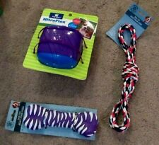 NEW LOT OF 3 GIFTS DOG TOYS NITROFLEX PULL TUG ROPE TOY  SQUEAKY BONE NEW