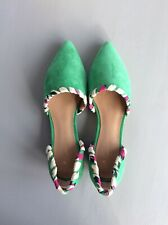 Fabulous Designer ANTHROPOLOGIE Green Suede Heeled Shoe UK5 US8 Rrp £136