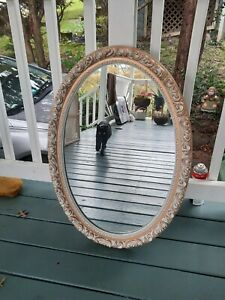 Vintage Oval Wall Mirror Medicine Cabinet Gold Gilt