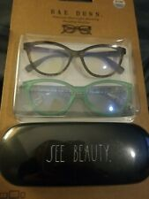 "Rae Dunn ""SEE BEAUTY"" Blue Light Blocking Reading Glasses +0.00 2 pair w/case"