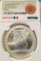 1993 MEXICO SILVER 5 PESOS BRASERO EFIGIE MINT MARK RIGHT NGC MS 69 TOP POP 2