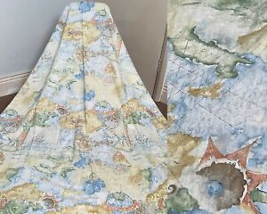 """Vintage Francis Price 'Trade Wind' Antique Maps Globes Cotton Curtains 53 x 62"""""""