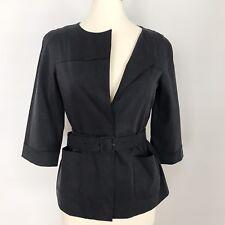 DKNY Womens Navy Blue Cotton Blend Size 4 Button Blazer Jacket EUC