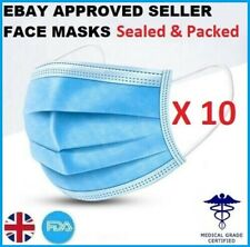 10x Face Mask Surgical Disposable Mouth Guard Cover Face Masks Respiration U.K.