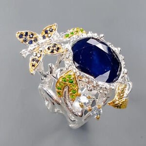 Natural 8ct Blue Sapphire Ring Silver 925 Sterling  Size 8.5 /R162099