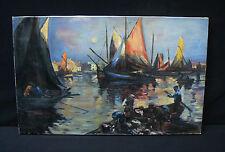 Ancienne peinture huile/toile, marins-pêcheurs, école française, signée