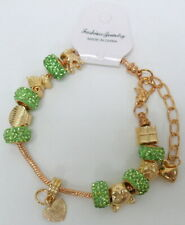 Rose Tone Gold & Green Pave Heart Shell Cat Charm Bracelet  NEW Ships from US