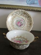 Rosenthal Ivory Bavaria Germany Cream Soup Bowl And Saucer Creamy Gold Flowers