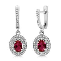 1.76 Ct Oval Red Created Ruby 925 Sterling Silver Dangle Women's Earrings
