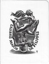 FRANK-IVO VAN DAMME: erotisches Exlibris für Mario de Filippis, Akt akrobatisch