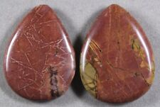 TWO (2) RED CREEK PICASSO JASPER 30x40MM TEARDROP FOCAL BEADS (119)
