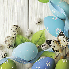 40 Paper EASTER Lunch Napkins GENTLE EASTER BLUE EGGS, Quail Eggs