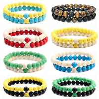 2 Pcs Couple Distance Bracelets Lovers Agate Natural Lava Beads Reiki Bracelets