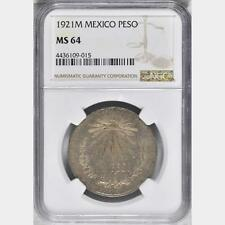1921 M Mexico Peso, NGC MS 64, Better Date